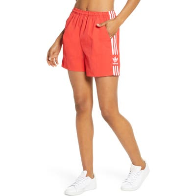 Adidas Originals 3-Stripes Athletic Shorts, Red