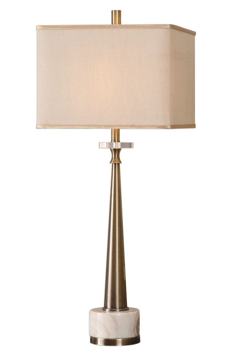 UTTERMOST Verner Tapered Table Lamp, Main, color, ANTIQUE BRASS/ IVORY SHADE