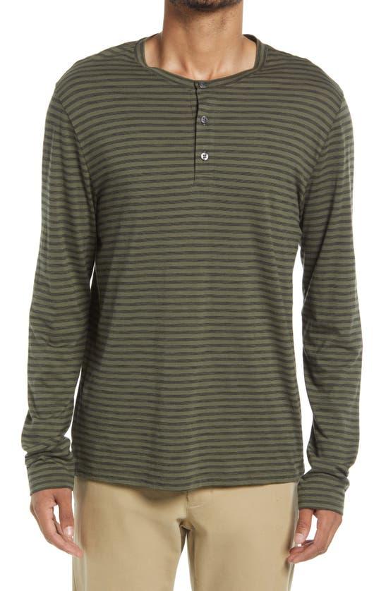 Vince Stripe Slub Cotton Long Sleeve Henley In Buckeye Olive/ Black
