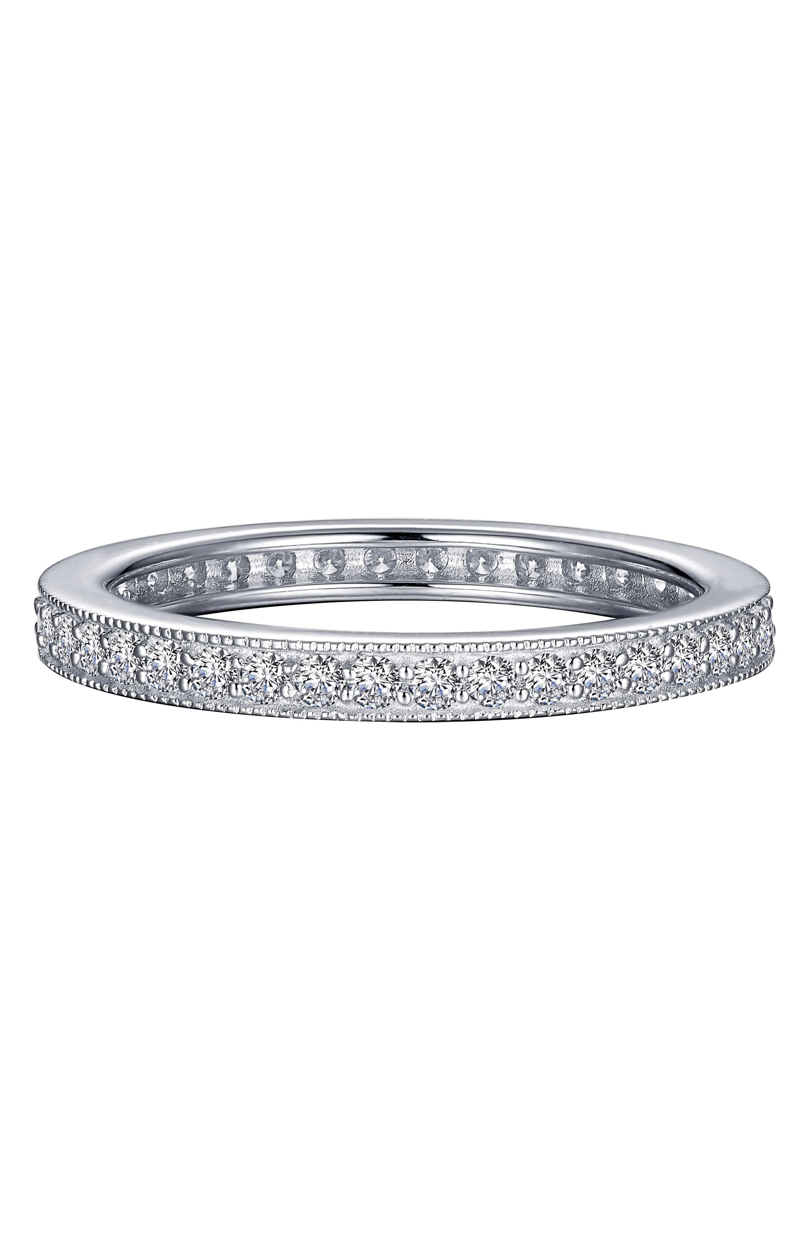From the brand inspired by the Gaelic word for everlasting desire, this slender band boasts ornate milgrain detail accented by sparkling simulated diamonds. Style Name: Lafonn Stackable Eternity Band Ring. Style Number: 5887630. Available in stores.