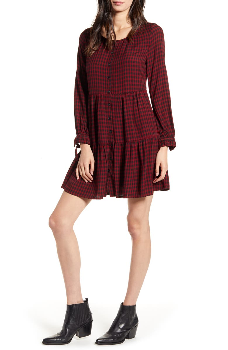 RAILS Raine Plaid Long Sleeve Minidress, Main, color, GARNET ASH CHECK