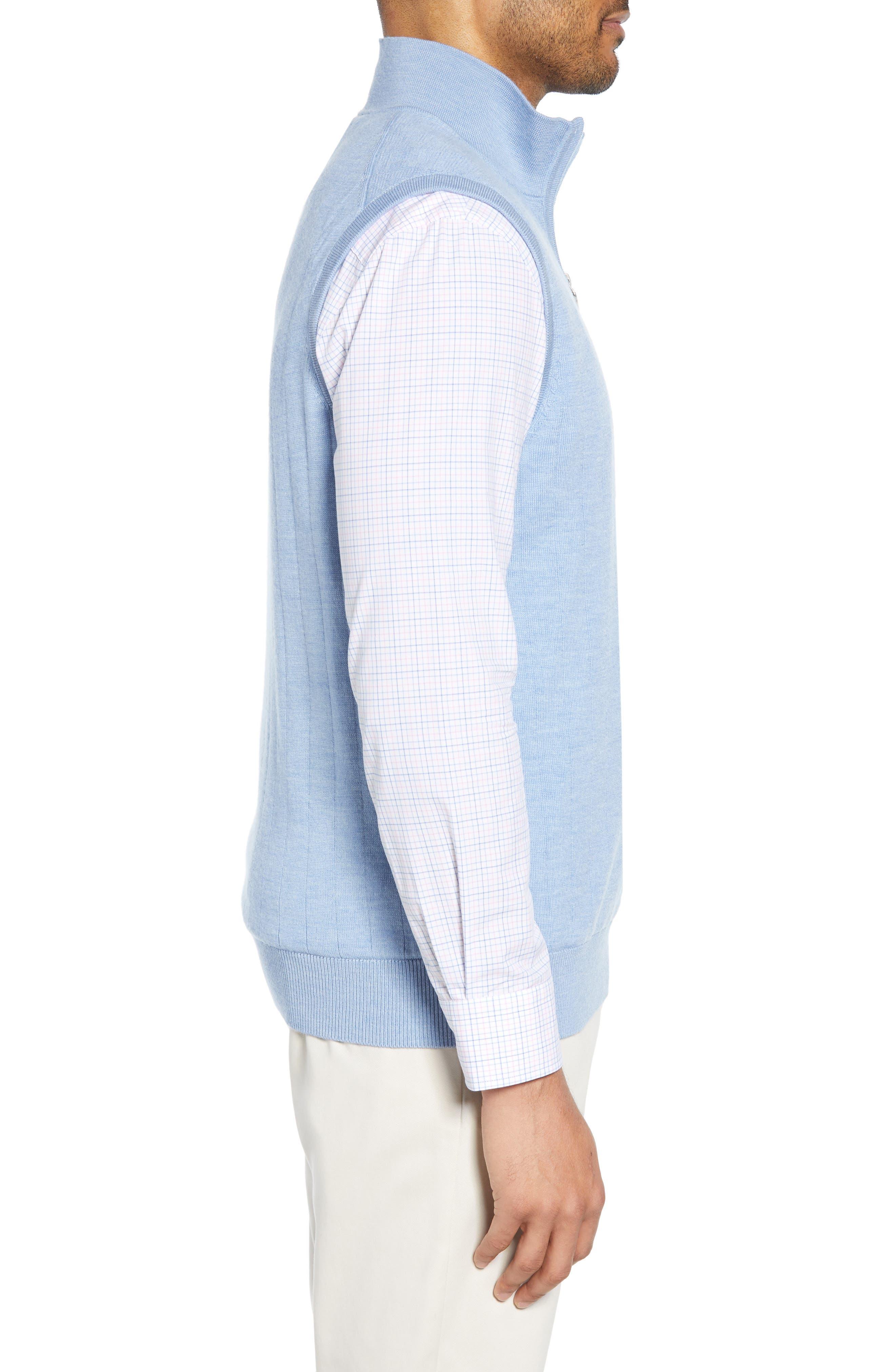 ,                             Quarter Zip Wool Sweater Vest,                             Alternate thumbnail 3, color,                             LIGHT BLUE