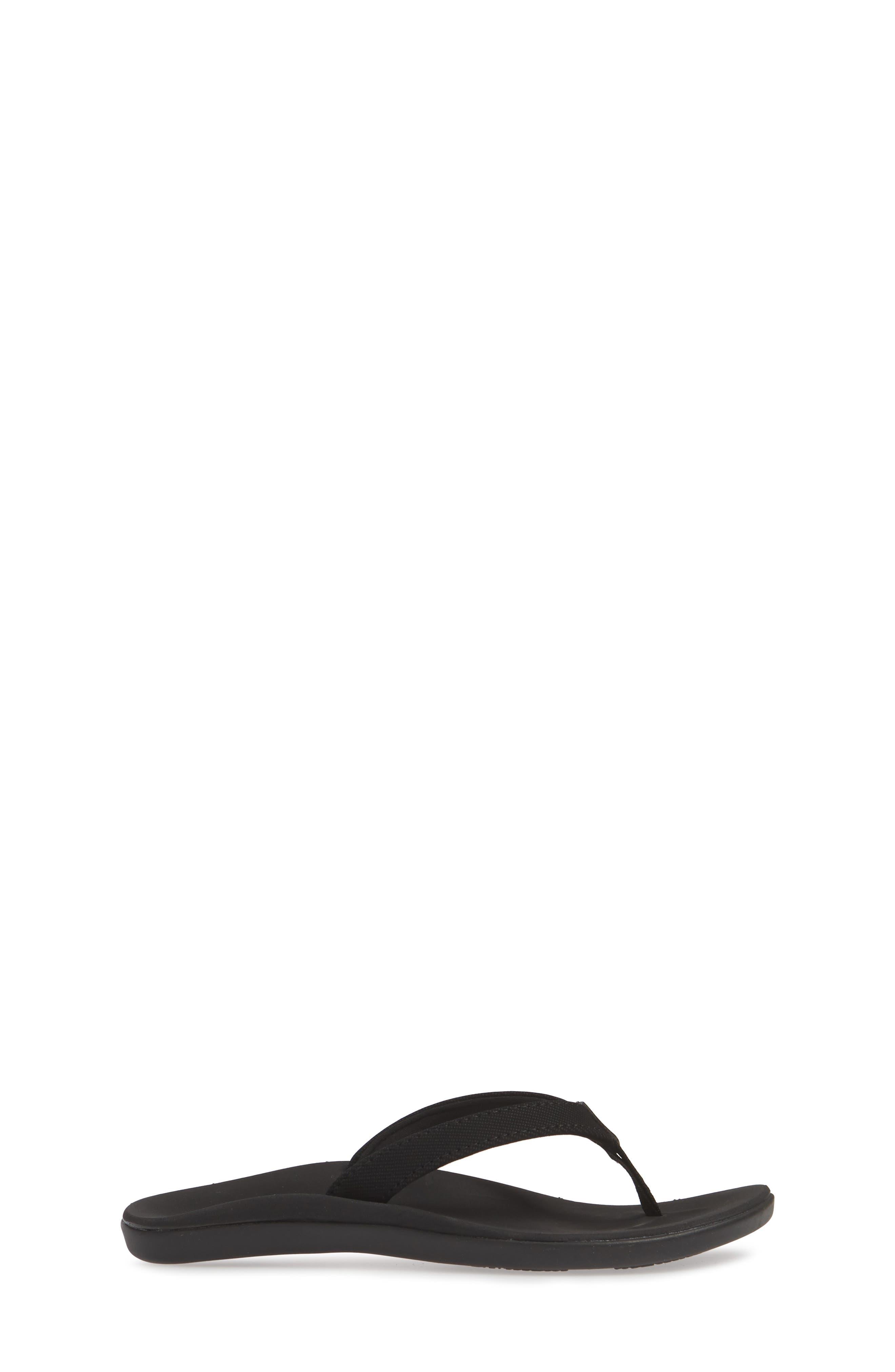 ,                             Ho'opio Flip Flop,                             Alternate thumbnail 3, color,                             BLACK/ BLACK