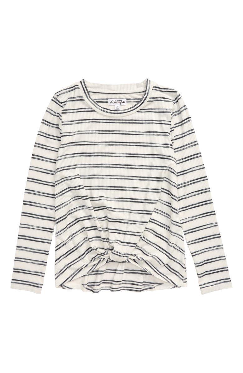 TEN SIXTY SHERMAN Twist Front Shirt, Main, color, WHITE/ BLACK STRIPE