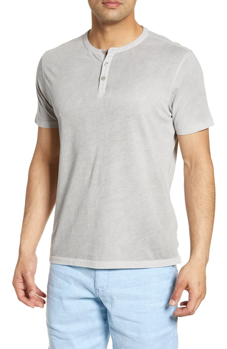 ROBERT BARAKETT Campbell Linen Henley, Main, color, FOSSIL GREY