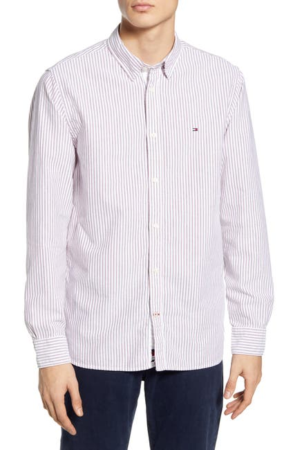 Image of Tommy Hilfiger Slim Fit Stripe Organic Oxford Button-Down Shirt