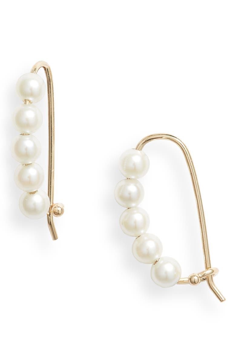 MIZUKI Pearl Ear Threaders, Main, color, YELLOW GOLD / PEARL