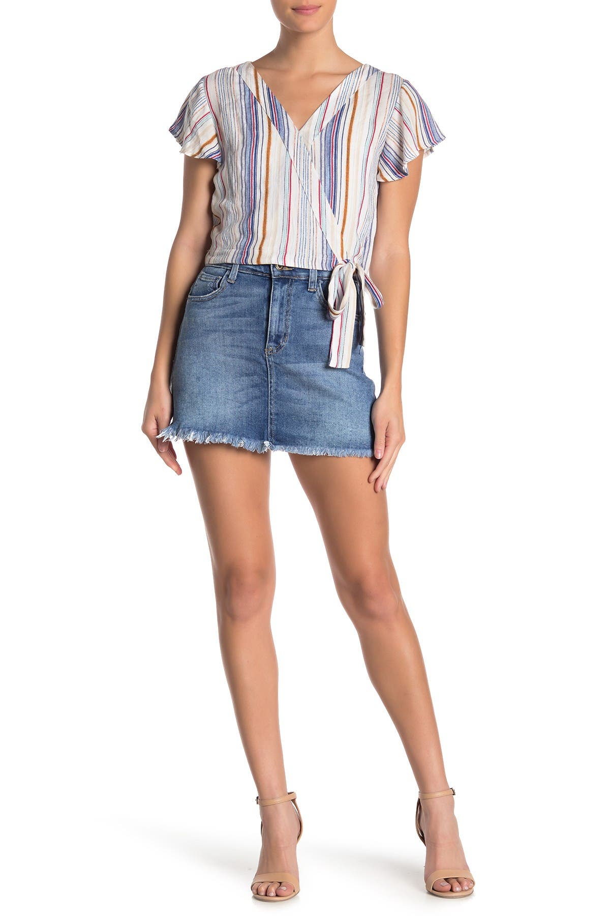 Image of Sneak Peek Denim A-Line Fray Hem Denim Mini Skirt