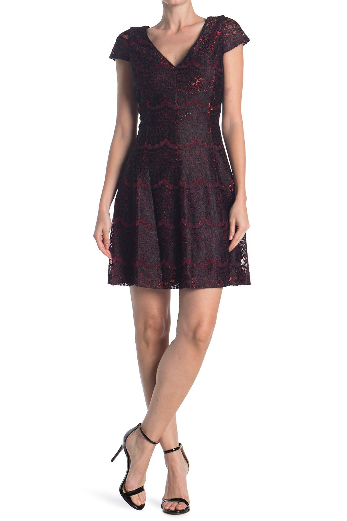 Image of Kensie Cap Sleeve Lace Fit & Flare Dress