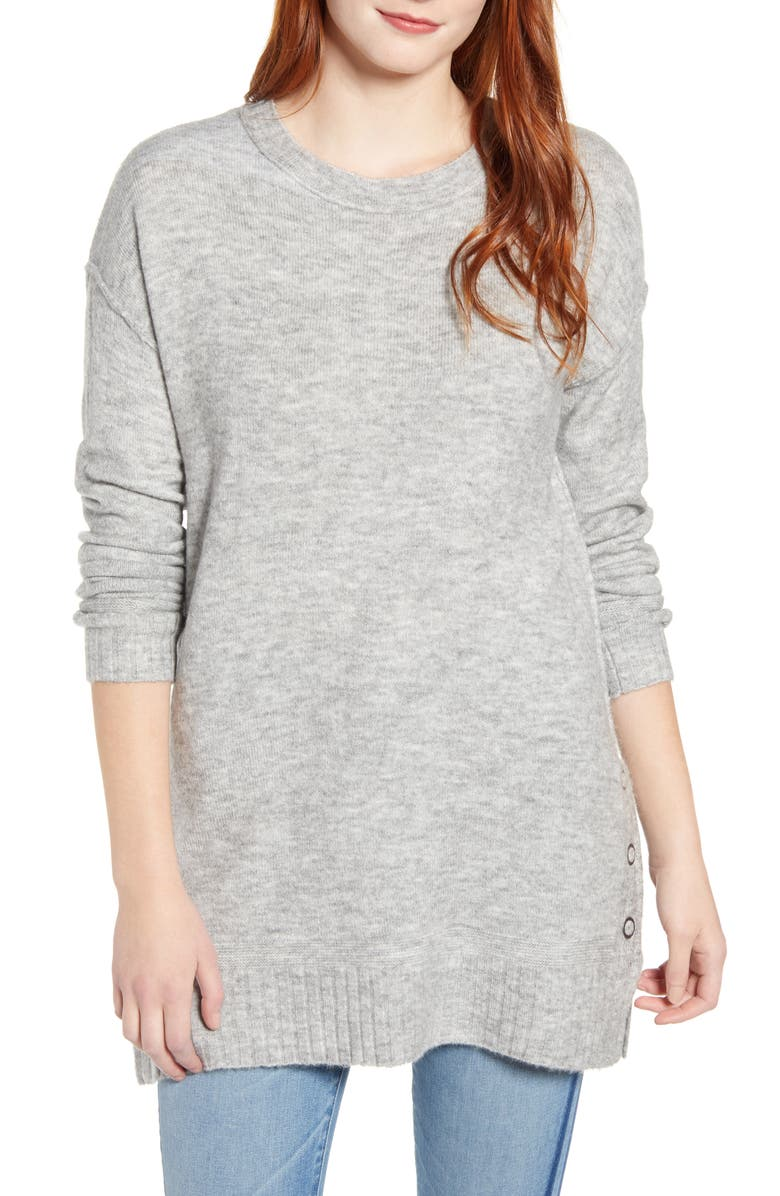 CASLON<SUP>®</SUP> Side Snap Tunic Sweater, Main, color, GREY HEATHER