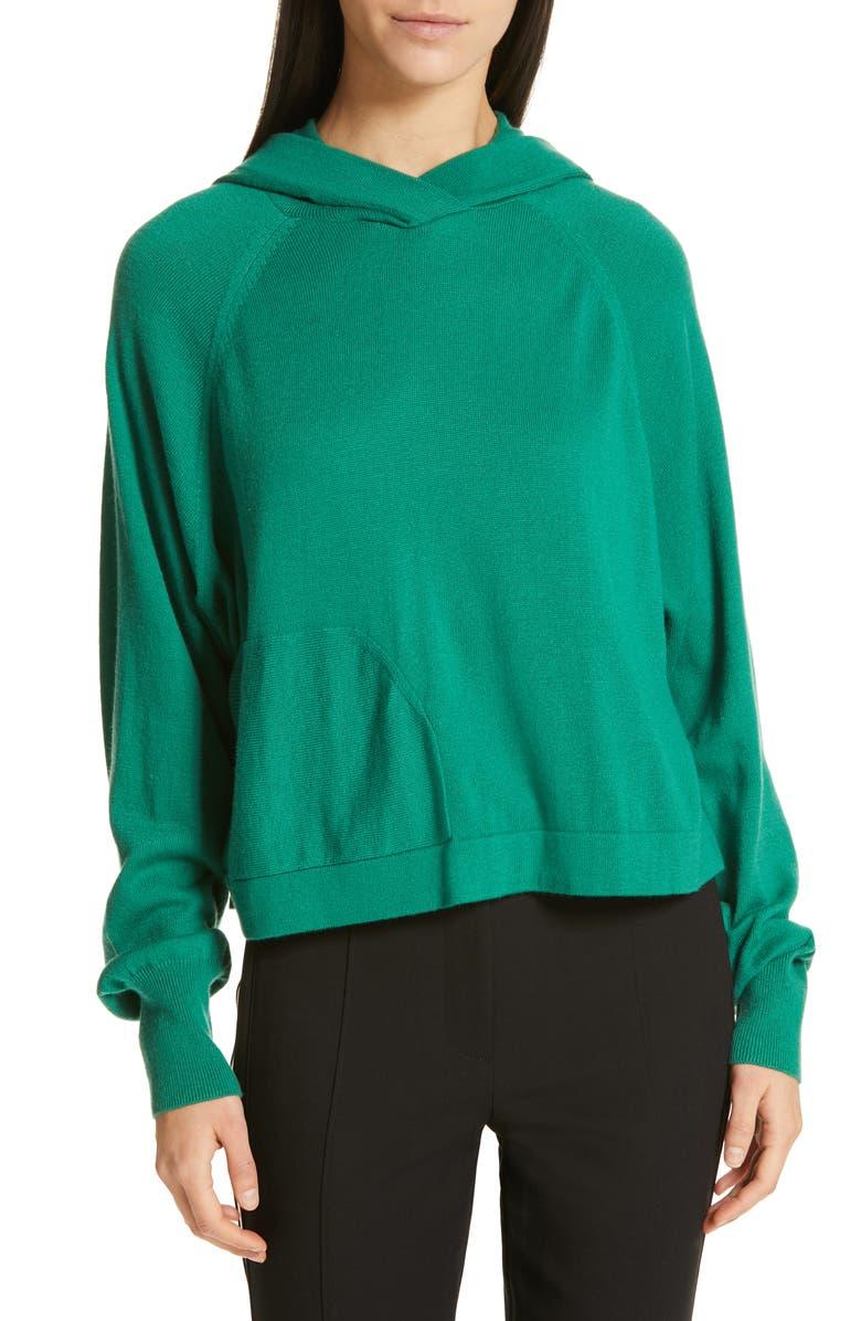 TIBI Crop Hoodie, Main, color, GREEN