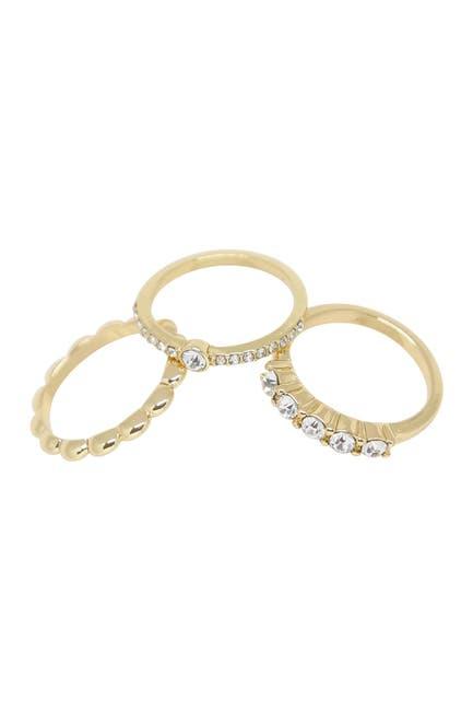 Image of Ettika Textured Gold & Crystal Ring - Set of 3