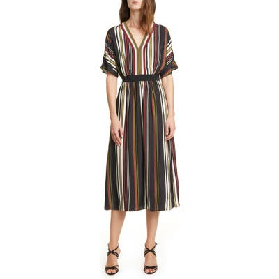 Ted Baker London Safiiya Stripe Short Sleeve Dress, (fits like 0-2 US) - Black