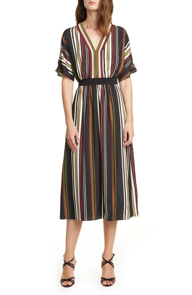 TED BAKER LONDON Safiiya Stripe Short Sleeve Dress, Main, color, BLACK