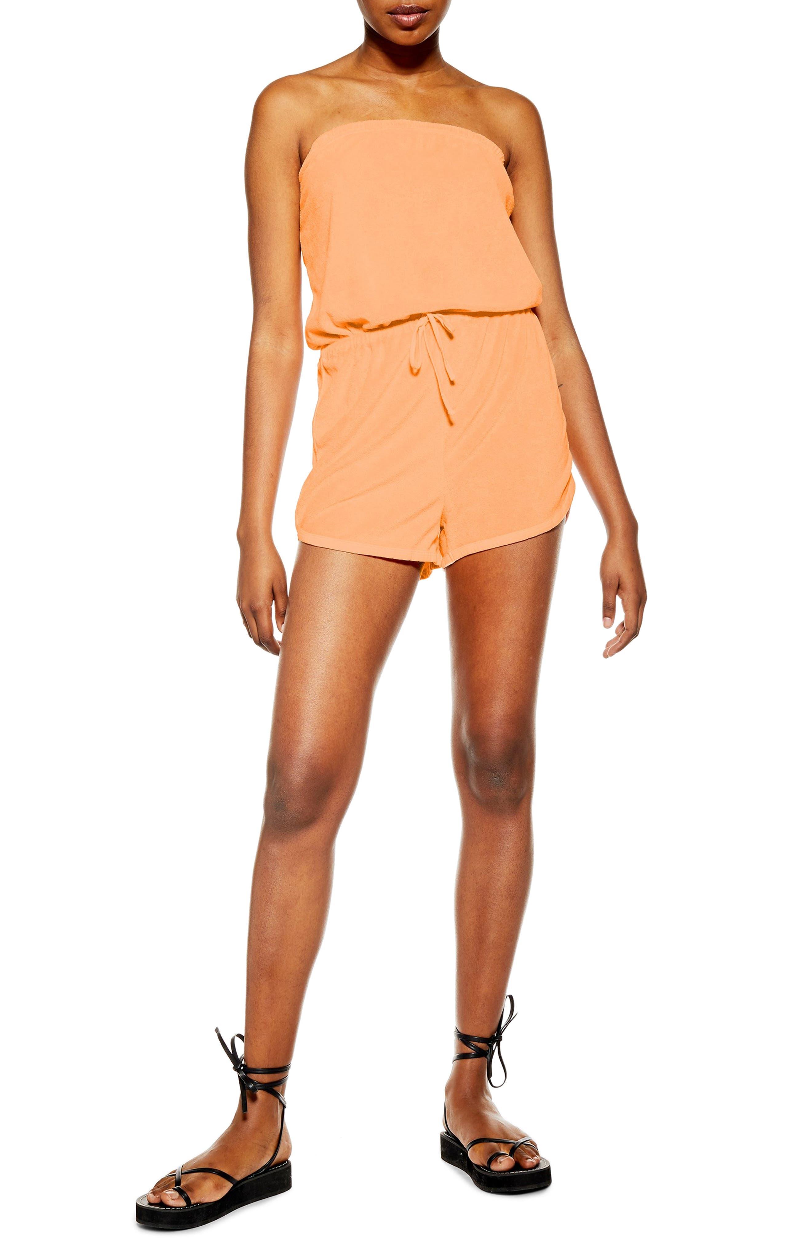 Topshop Strapless Velour Cover-Up Romper, Orange
