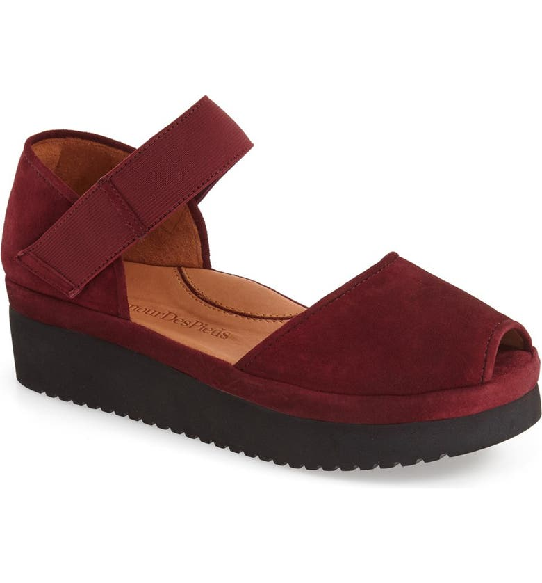 L'AMOUR DES PIEDS 'Amadour' Platform Sandal, Main, color, MULBERRY SUEDE LEATHER