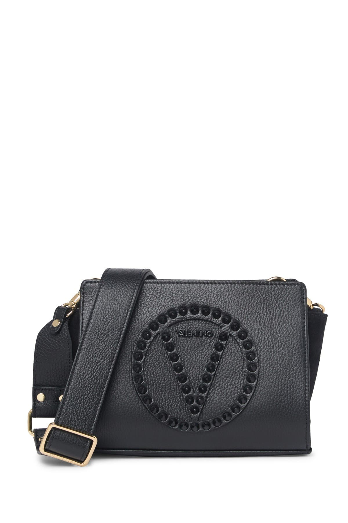 Image of Valentino By Mario Valentino Kikki Rock Studded Leather Crossbody Bag