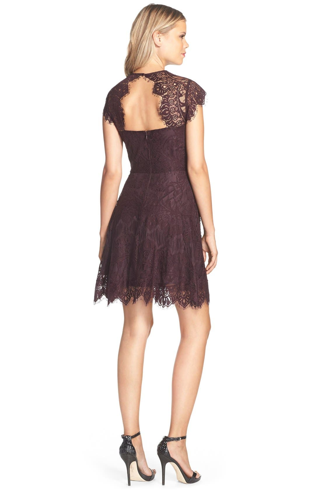 ,                             Rhianna Open Back Lace Fit & Flare Cocktail Dress,                             Alternate thumbnail 56, color,                             502