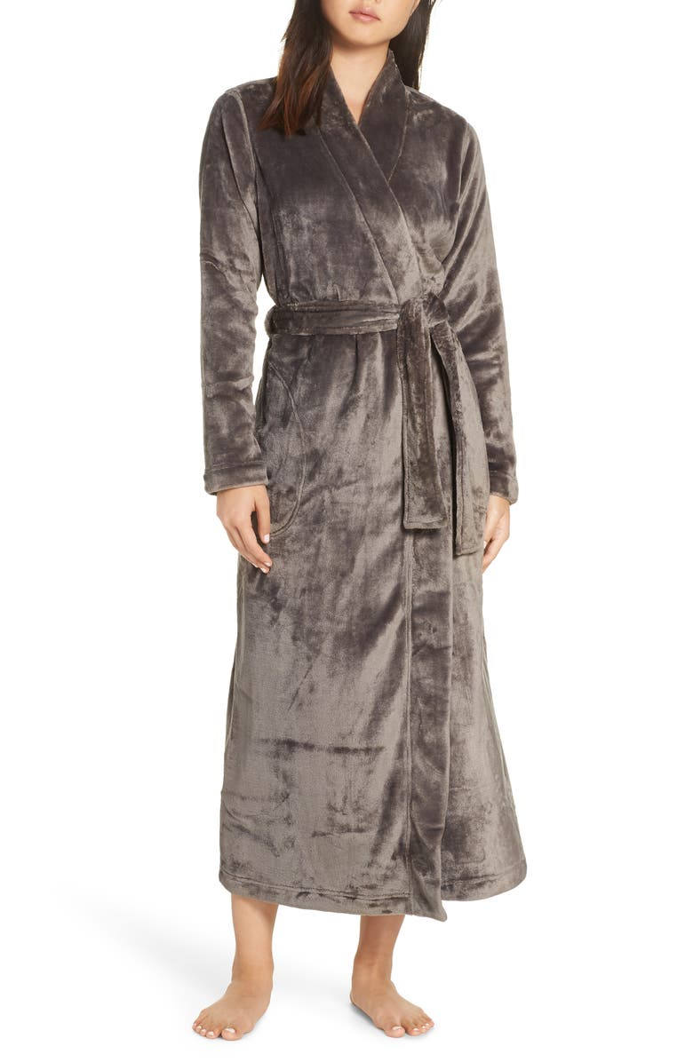 UGG<SUP>®</SUP> Marlow Double-Face Fleece Robe, Main, color, CHARCOAL