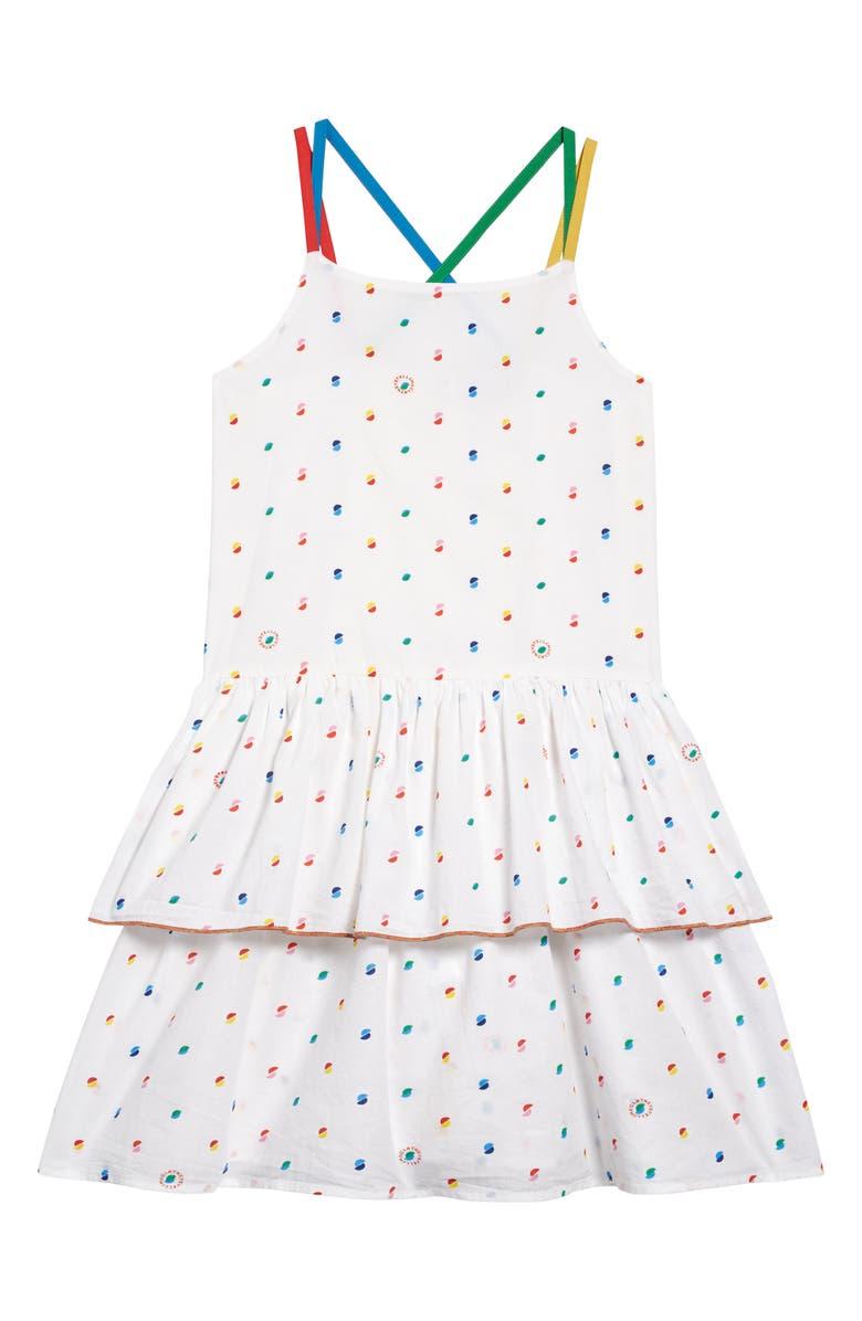 STELLA MCCARTNEY KIDS Stella McCartney Kid Logo Dot Print Organic Cotton Dress, Main, color, 150