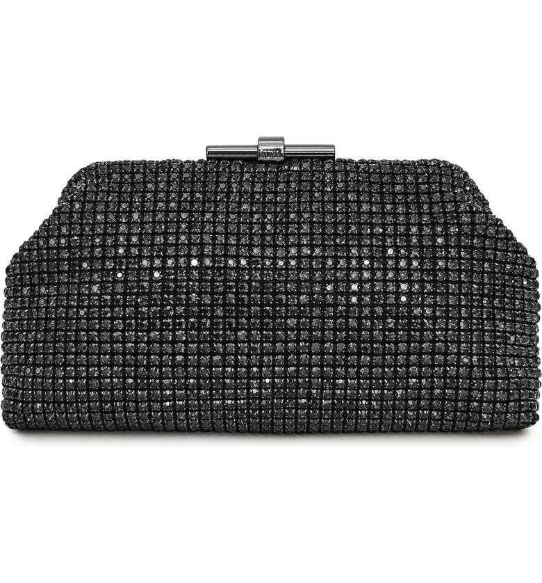 REISS Adaline Crystal Embellished Frame Clutch, Main, color, SMOKEY GREY