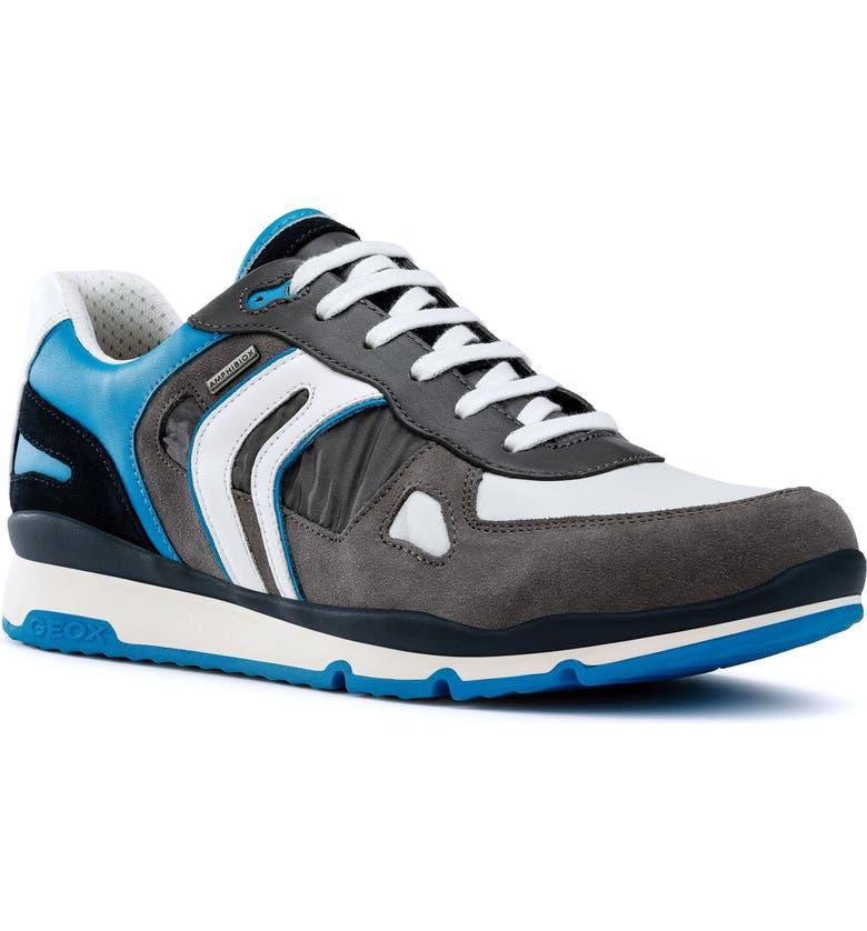 GEOX Sandford ABX 2 Waterproof Sneaker, Main, color, GREY/ BRILLIANT AZURE