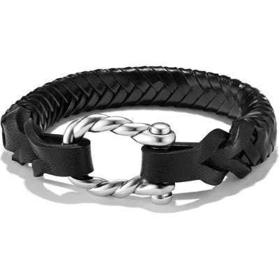 David Yurman Maritime Leather Woven Shackle Bracelet