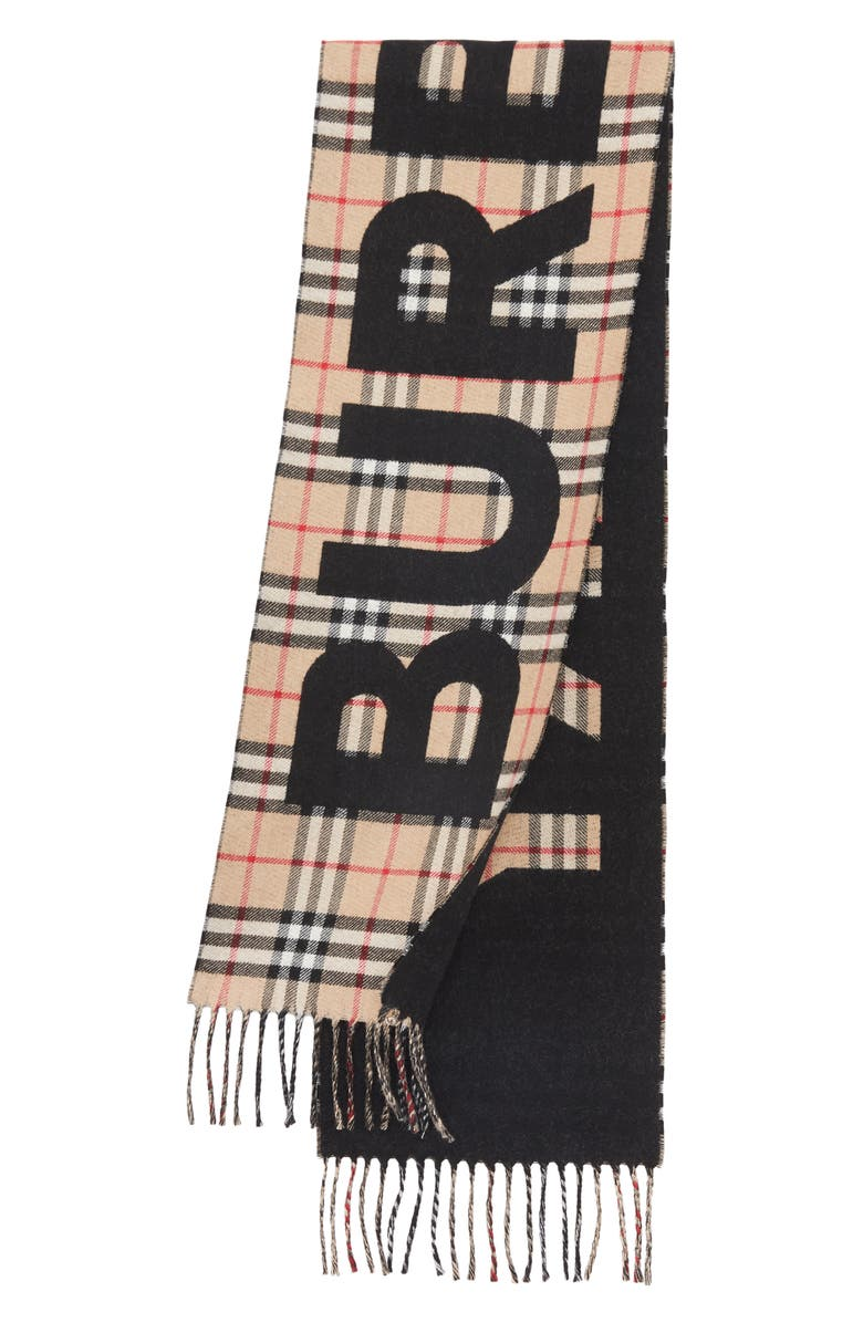 BURBERRY Check Print Wool Scarf, Main, color, CAMEL