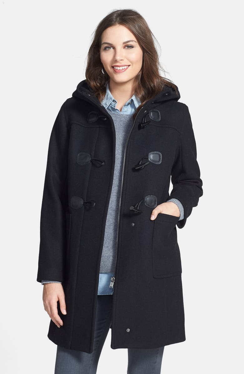 PENDLETON Wool Blend Hooded Duffle Coat, Main, color, 001