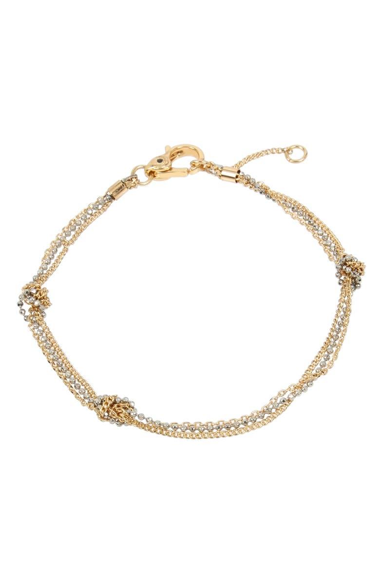 ALLSAINTS Knot Chain Flex Bracelet, Main, color, GOLD/ RHODIUM