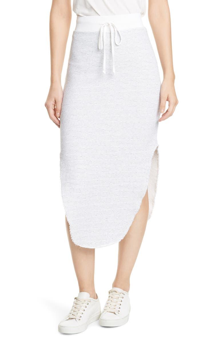 FRANK & EILEEN Tie Waist Cotton Fleece Skirt, Main, color, 100