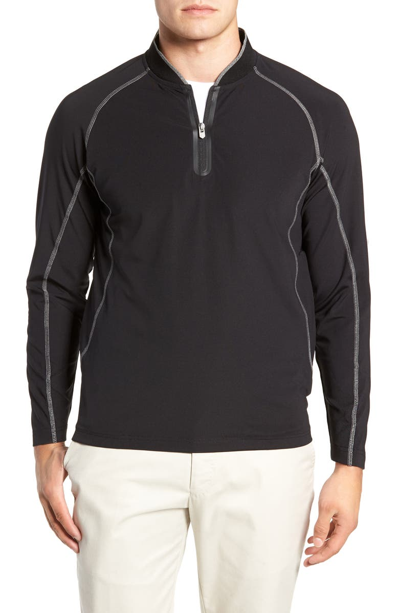 BOBBY JONES Quarter Zip Slim Fit Tech Pullover, Main, color, BLACK