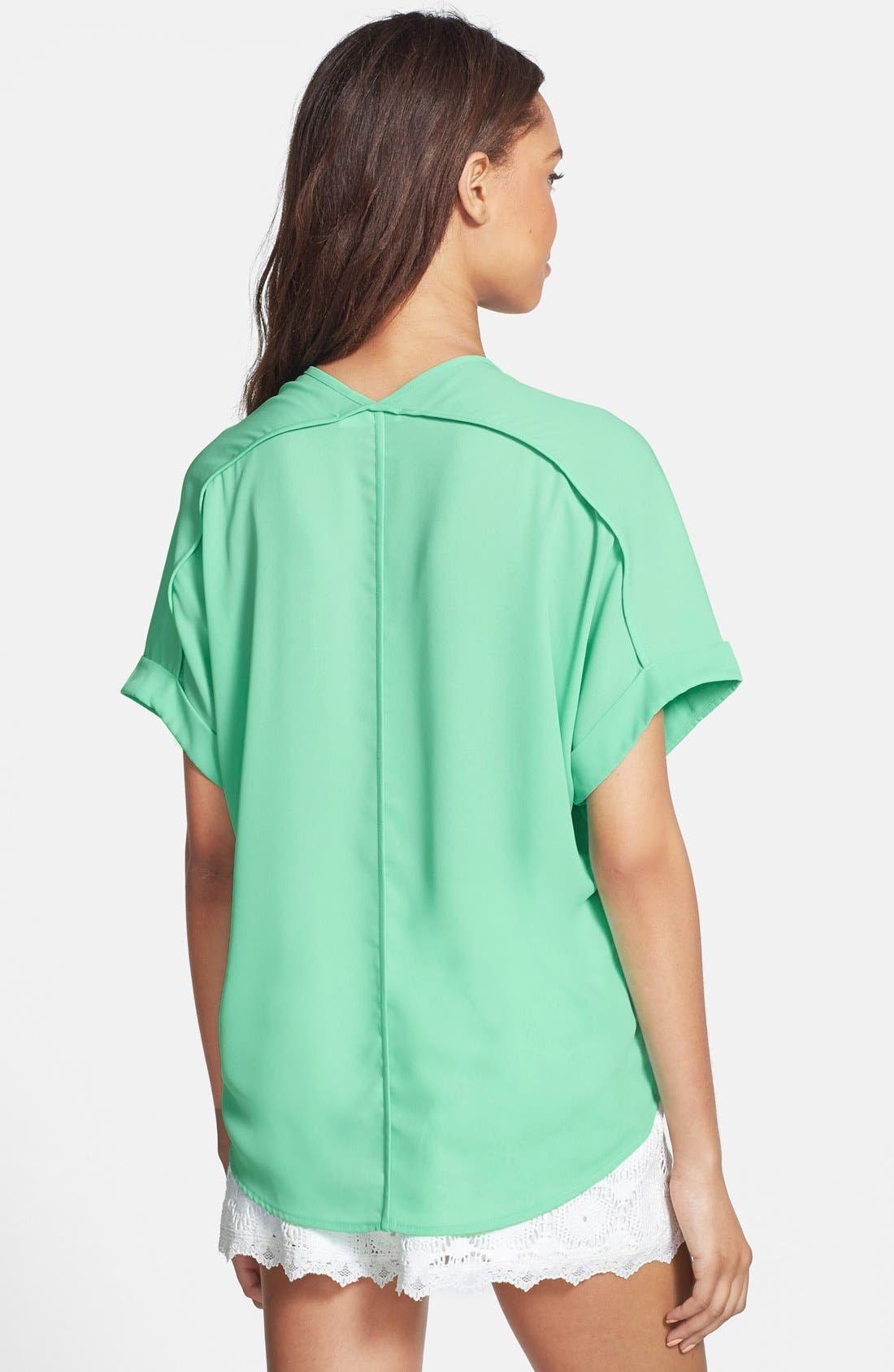 ,                             Lush Cuff Sleeve Woven Tee,                             Alternate thumbnail 39, color,                             300