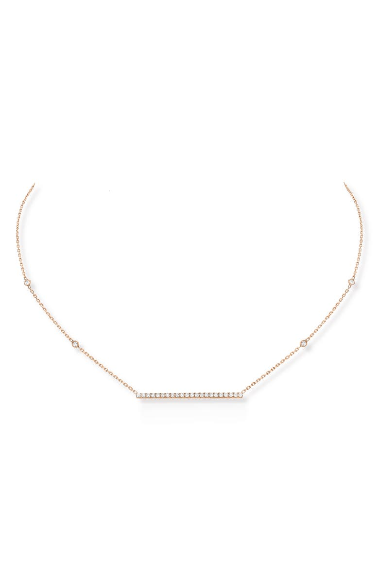 MESSIKA Gatsby Diamond Bar Necklace, Main, color, ROSE GOLD