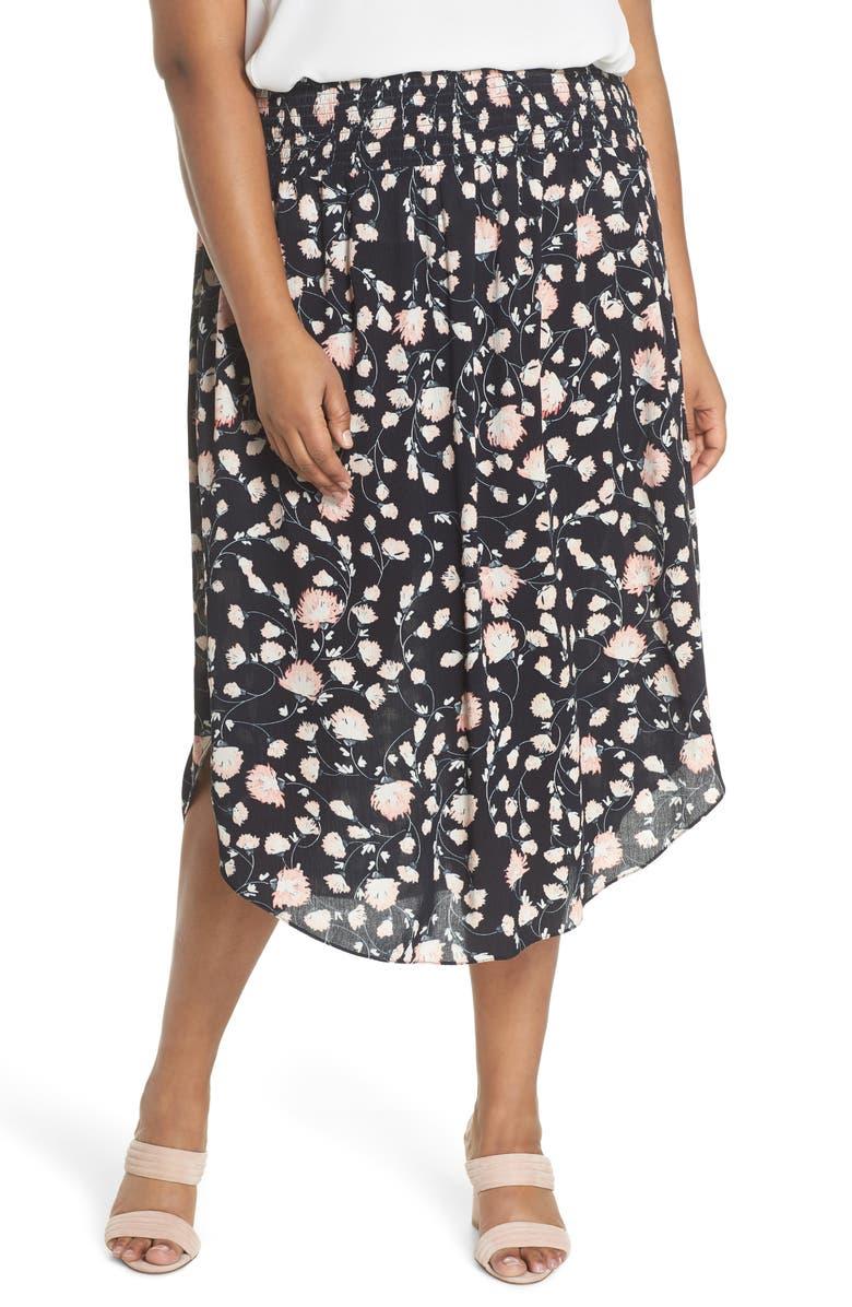 SEJOUR Smocked Waist Skirt, Main, color, 002