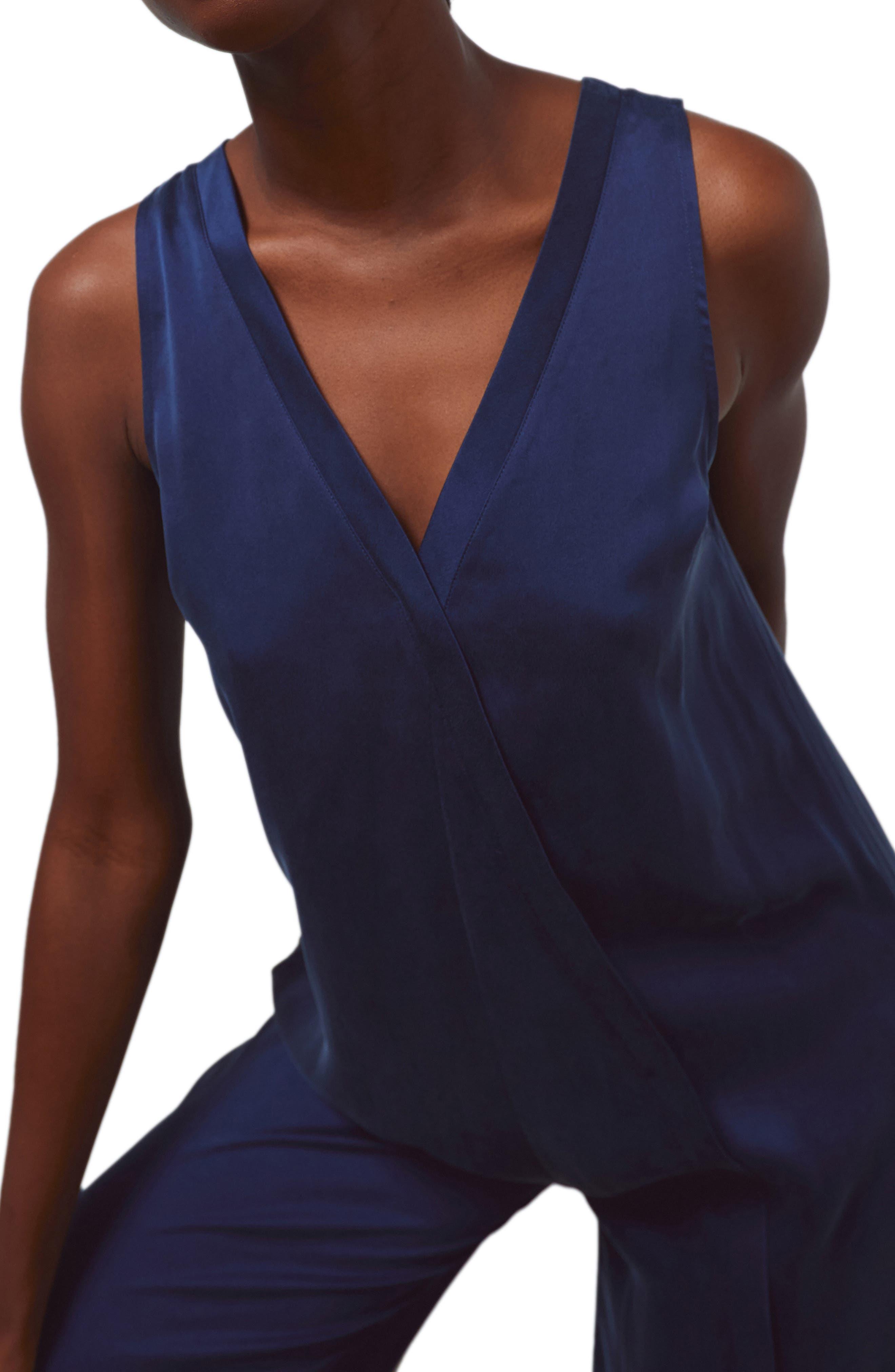 V-Neck Washable Silk Jumpsuit