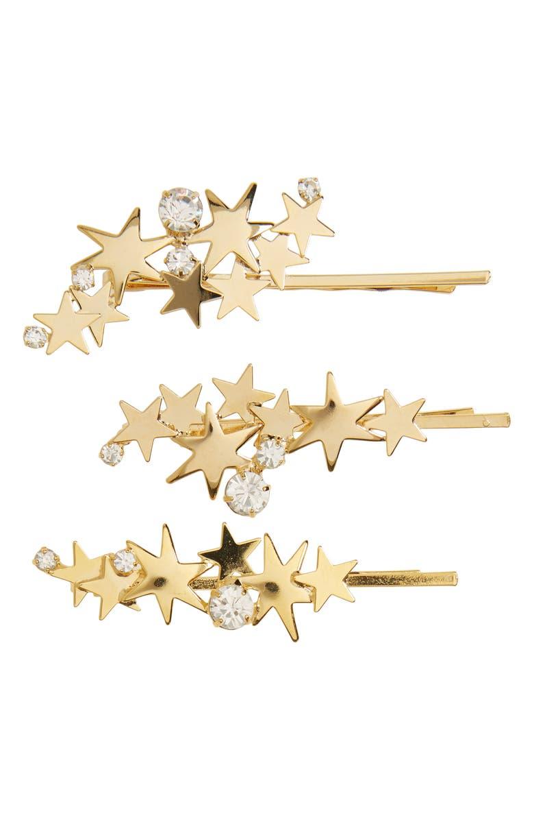 LELET NY Crystal Cosmos 3-Pack Bobby Pin Set, Main, color, GOLD