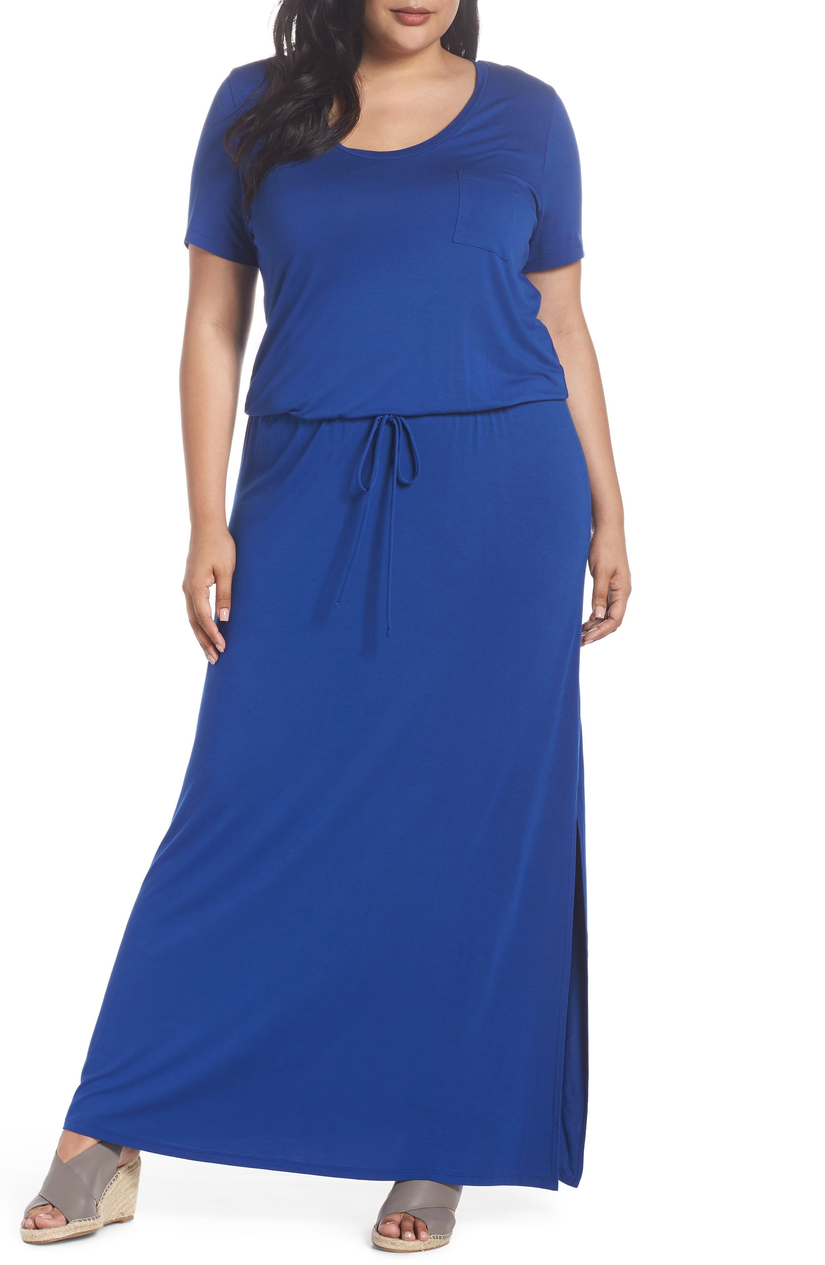 Plus Size Caslon Knit Drawstring Waist Maxi Dress, Blue