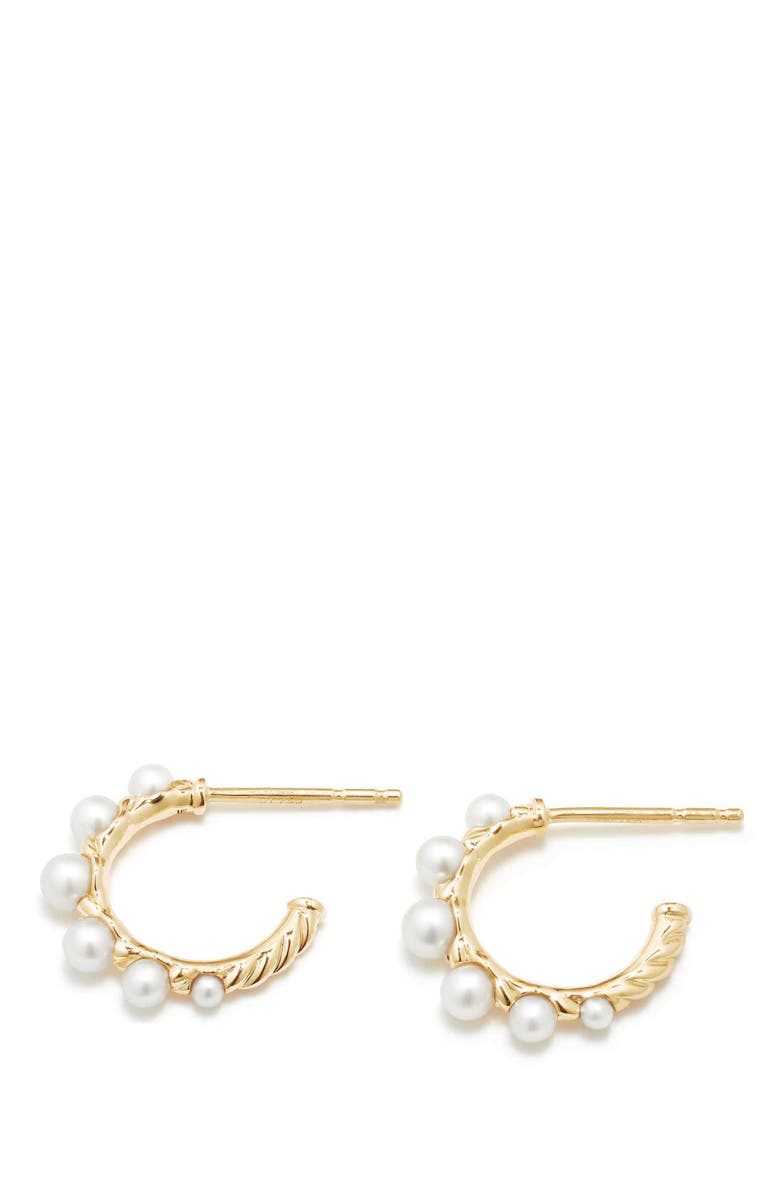 DAVID YURMAN Petite Perle Graduated Pearl Hoop Earrings in 18K Gold, Main, color, 100