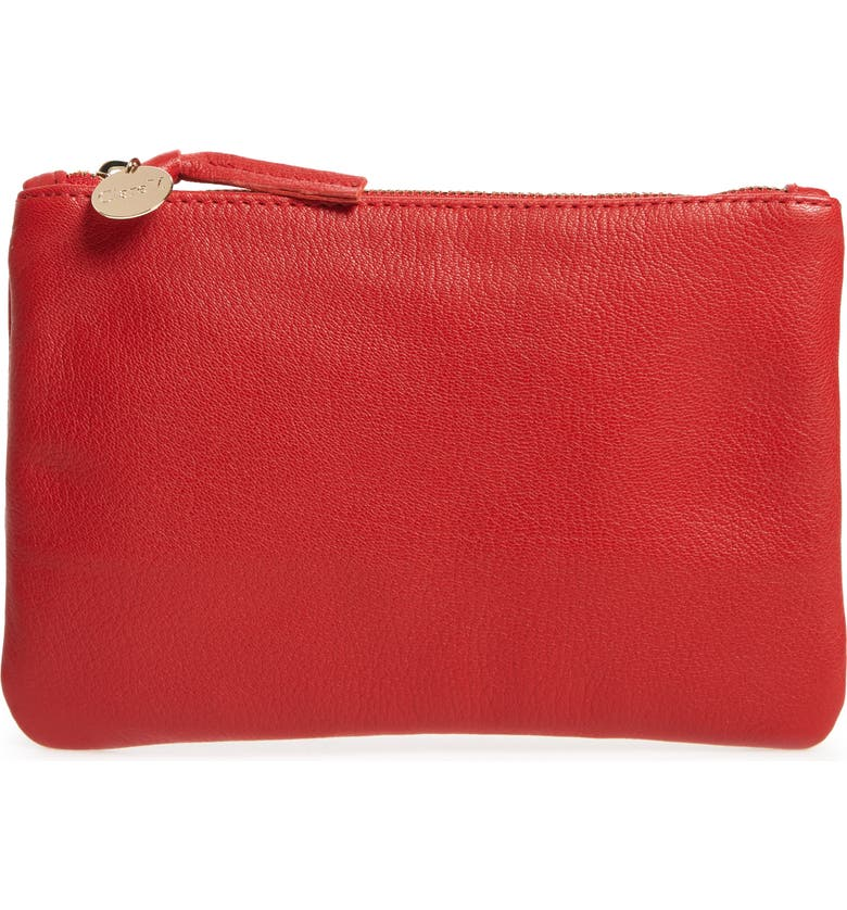 CLARE V. Goatskin Leather Zip Clutch, Main, color, CHERRY RED GOAT