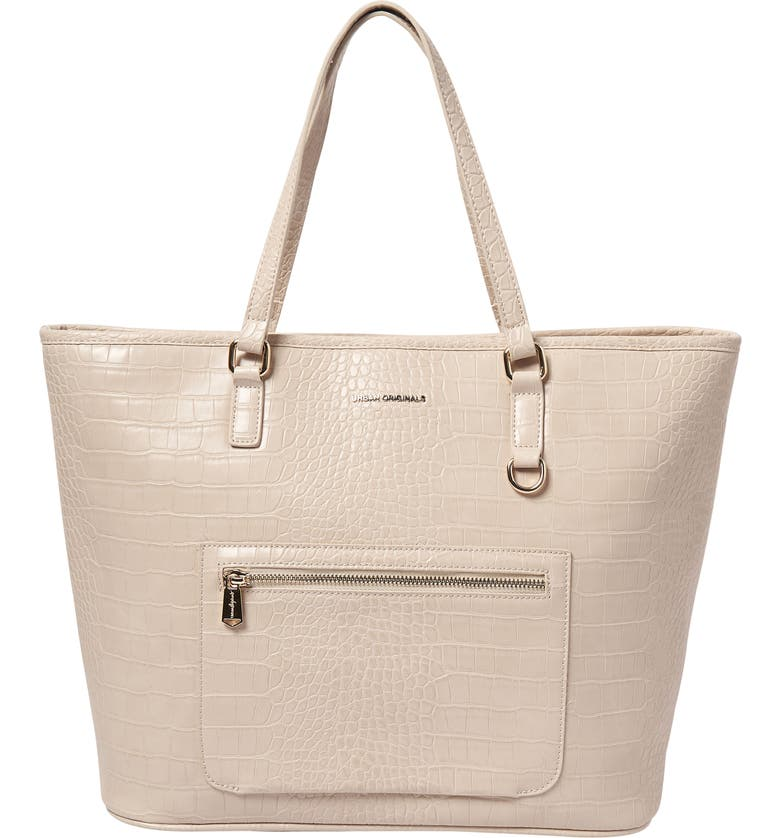 URBAN ORIGINALS Croc Embossed Vegan Leather Tote, Main, color, OAT CROC