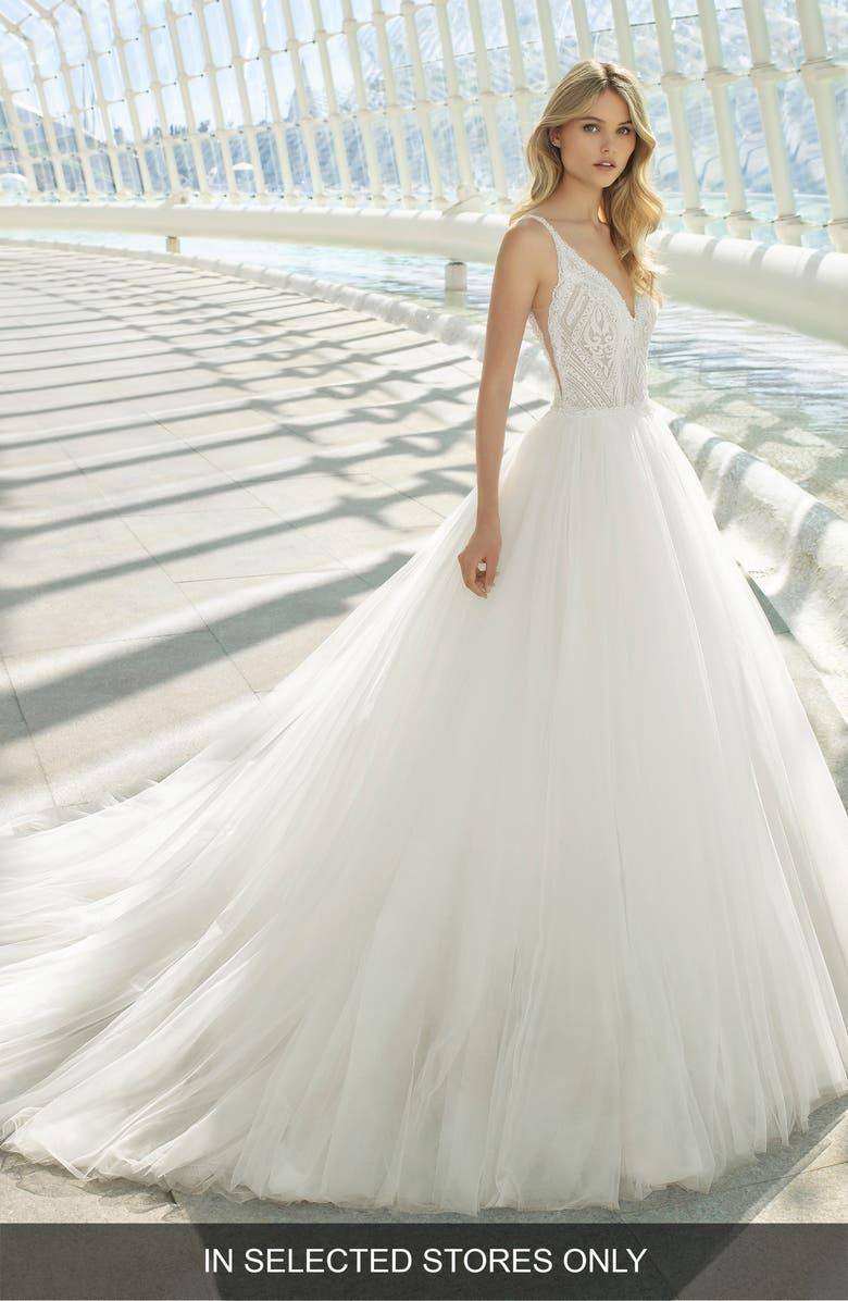 ROSA CLARÁ Doe Diamond Lace & Tulle Gown, Main, color, NATURAL