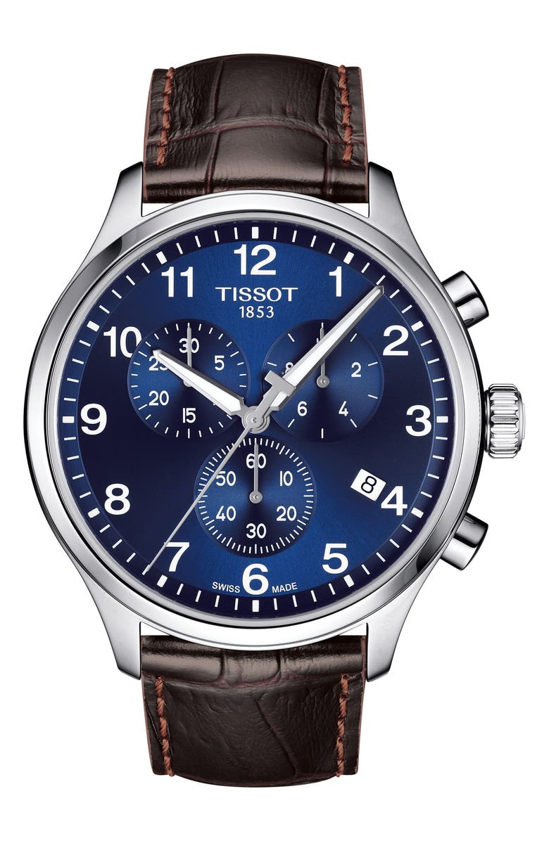 TISSOT Chrono XL Collection Chronograph Leather Strap Watch, 45mm, Main, color, BROWN/ BLUE/ SILVER