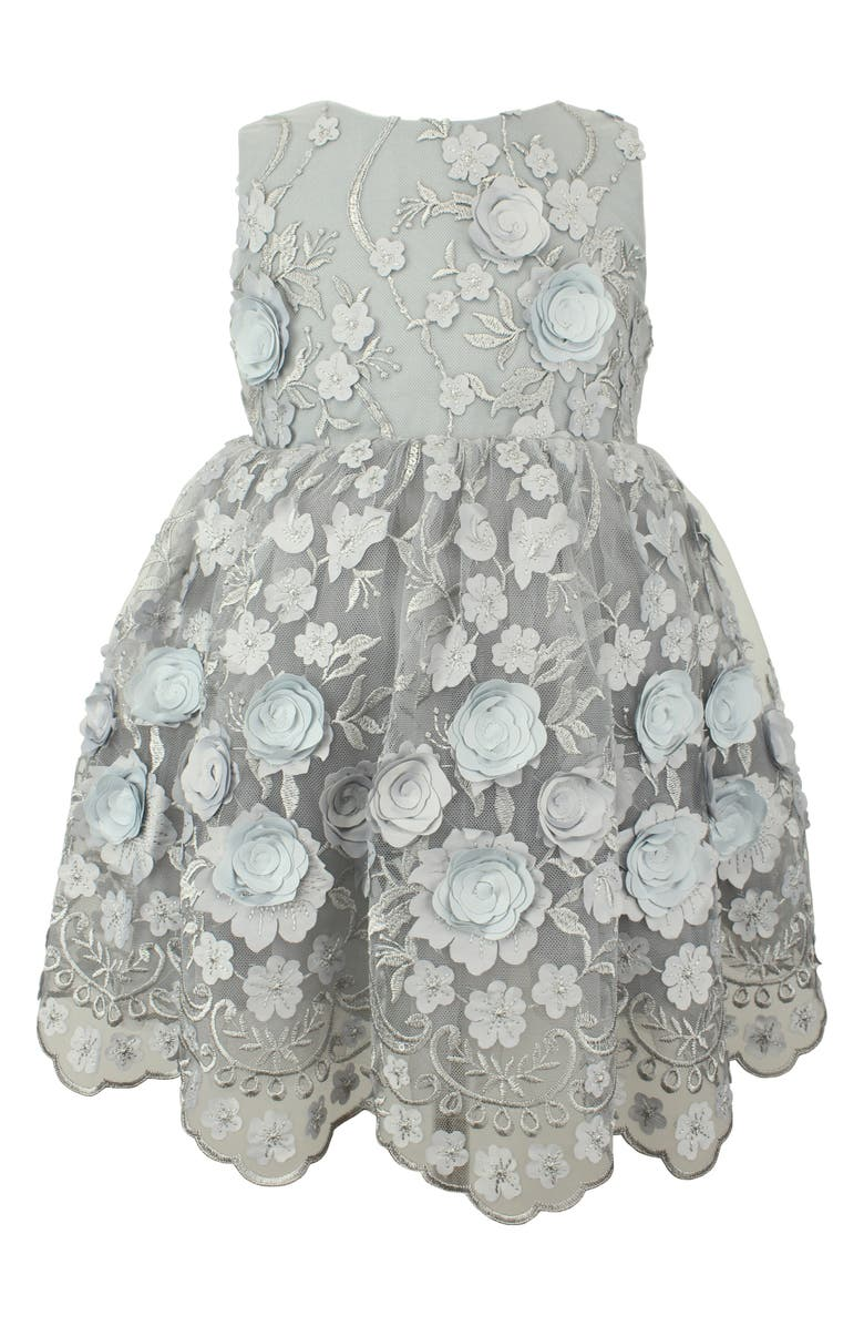 POPATU Floral Appliqué Scalloped Tulle Dress, Main, color, SILVER
