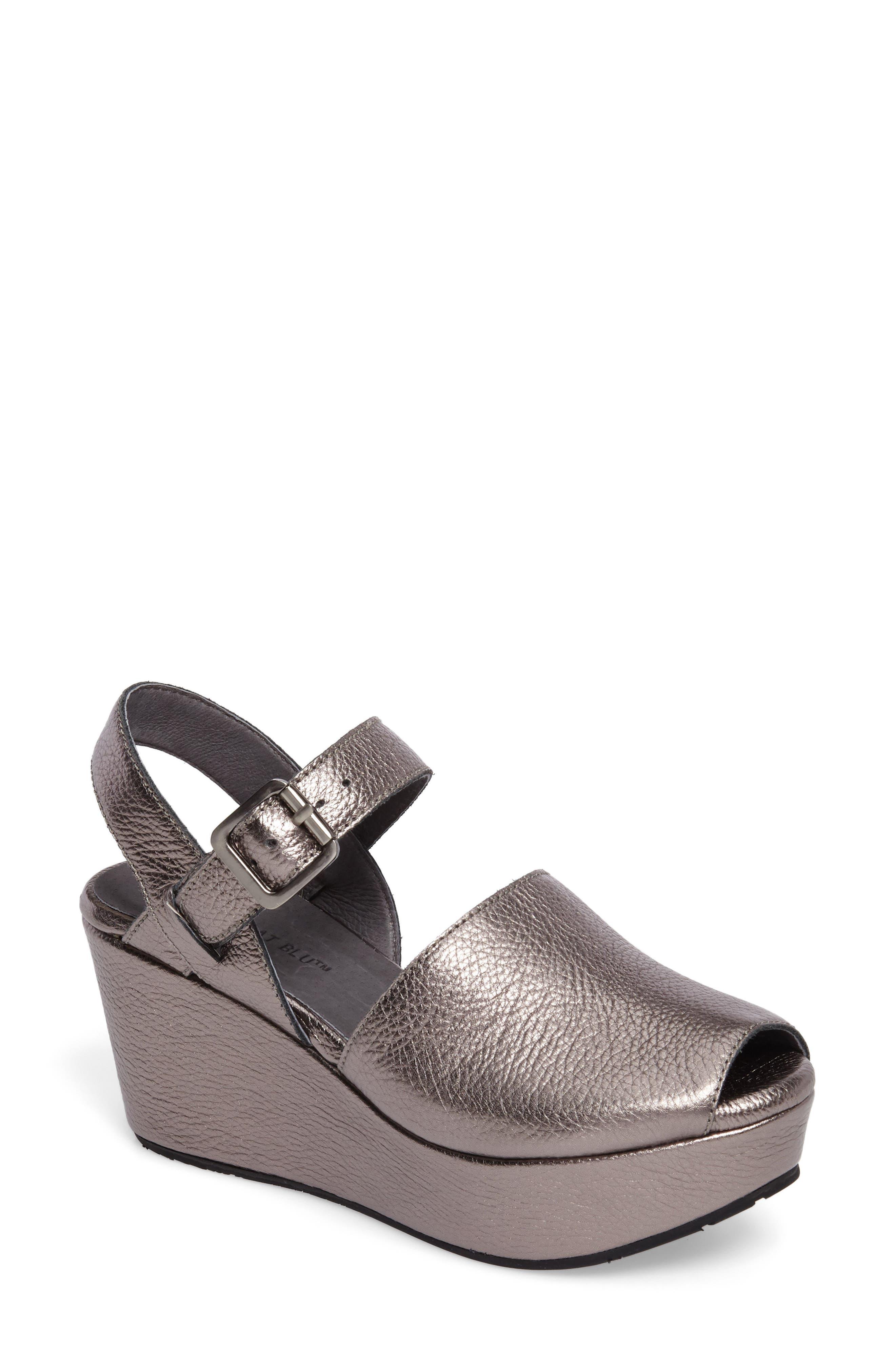 Chocolat Blu Wagga Platform Wedge Sandal, Metallic