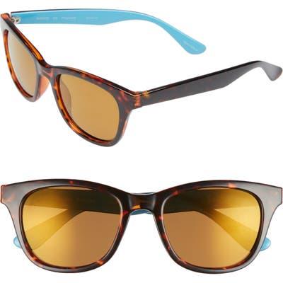 Lilly Pulitzer Maddie 52Mm Polarized Mirrored Sunglasses - Aqua/ Gold Flash