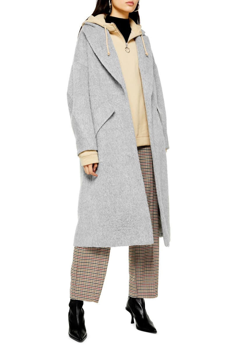 TOPSHOP Effie Brushed Longline Coat, Main, color, 020