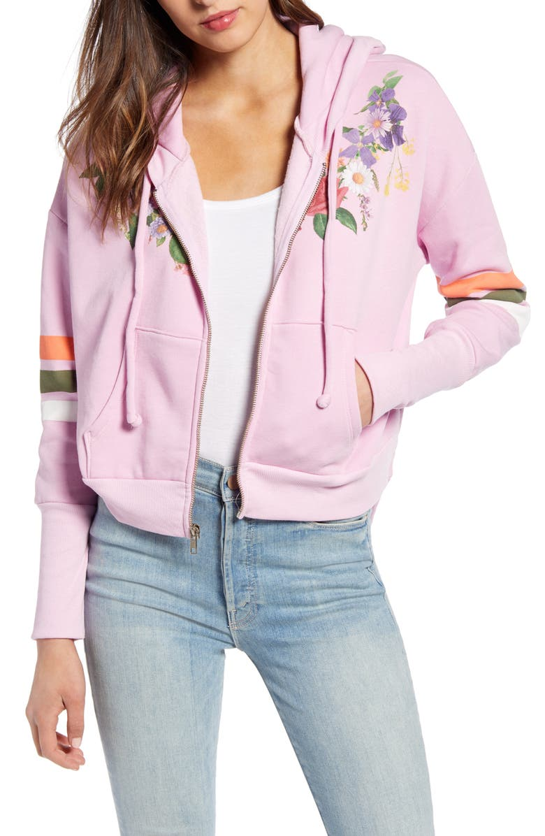 WILDFOX Theo Rose & Stripe Cotton Blend Hoodie, Main, color, ORCHID