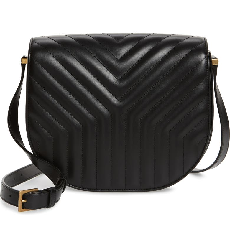 SAINT LAURENT Joan Quilted Leather Shoulder Bag, Main, color, NOIR