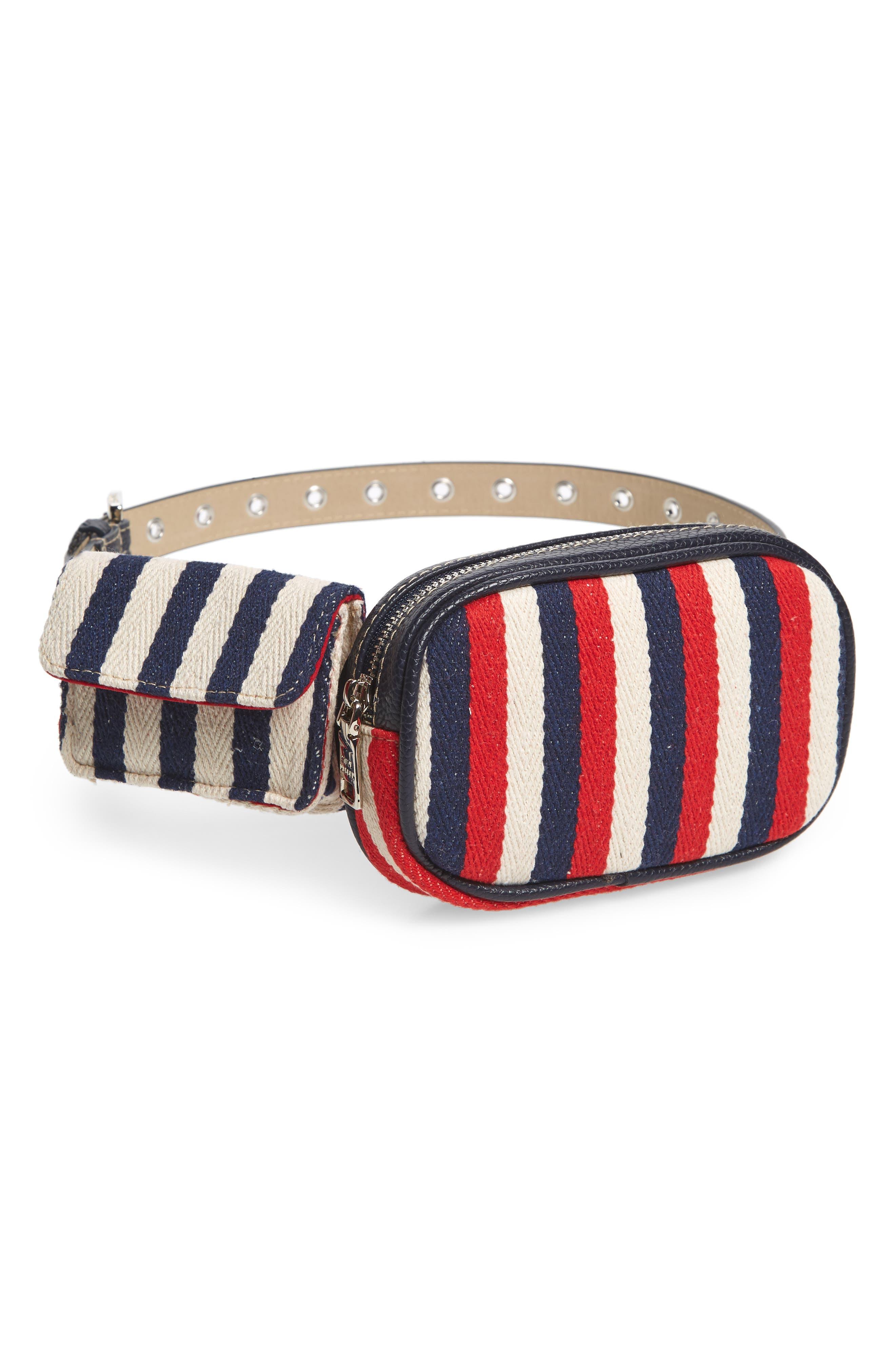 Nautical Stripe Double Belt Bag, Main, color, NAVY